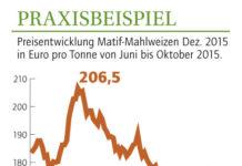 Preisentwicklung Matif-Mahlweizen Dez. 2015 in Euro pro Tonne von Juni bis Oktober 2015.