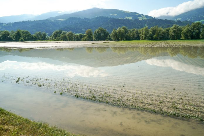 Das Hochwasser der vergangenen Woche hat erhebliche Flurschäden verursacht. Im Bild zu sehen ist ein überflutetes Feld zwischen Terfens und Vomp.